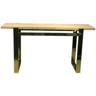 Console Table Brass With Faux Goatskin Top For Sale