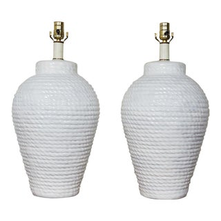 Hollywood Regency Pair of White Rope Urn Lamps For Sale
