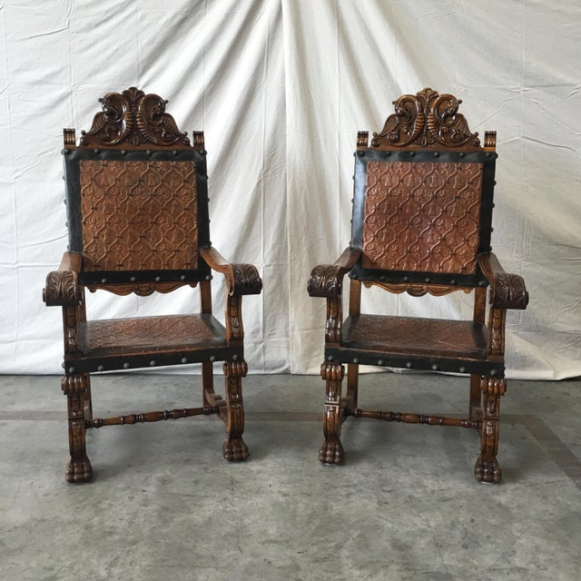 Spanish Antique Leather Dining Chairs - Set of 6 For Sale In Austin - Image  6 - Spanish Antique Leather Dining Chairs - Set Of 6 Chairish