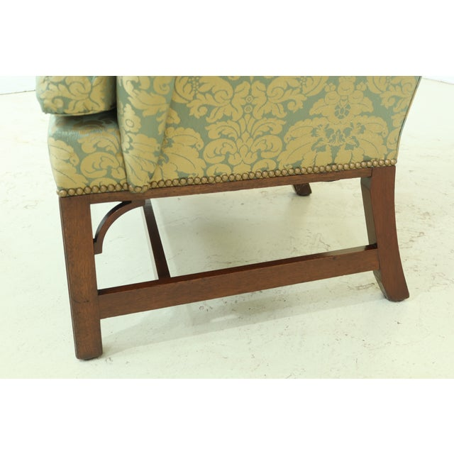 Wood Kittinger Chippendale Mahogany Wing Back Chair For Sale - Image 7 of 13