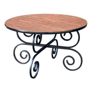 Rosewood Laminate Wrought Iron Coffee Table For Sale