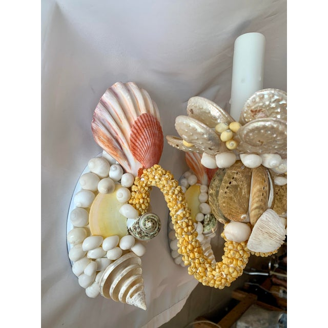 Pair of pretty custom, single-light seashell sconces in pastel yellow, peach, coral and white. Pearled Abalone, beautiful...