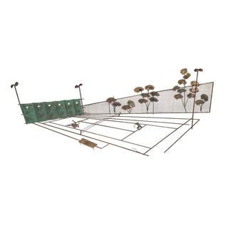 Curtis Jere Metal Wall Sculpture of Tennis Court