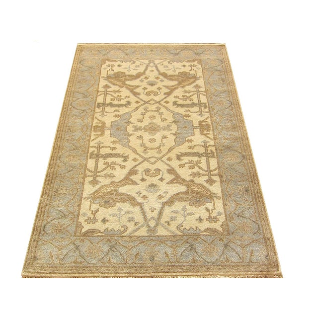 2010s Indian Oushak Rug - 4′1″ × 5′10″ For Sale - Image 5 of 5