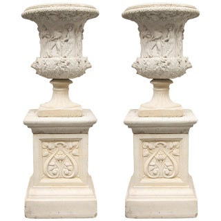 Neoclassical Cast Urns on Plinths - a Pair For Sale