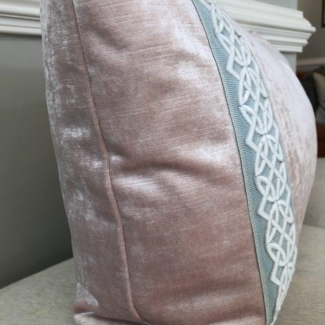 Scalamandre Trim Pink Velvet Pillow - Image 4 of 6
