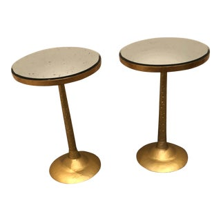 Made Goods Brass & Antique Mirrored Accent Tables - A Pair For Sale