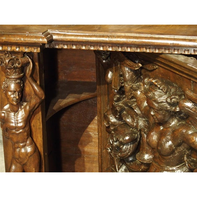 19th Century Antique Italian Walnut Wood Buffet / Credenza From Rome, 19th Century For Sale - Image 5 of 13