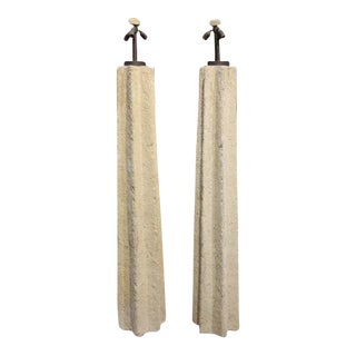Ron Mann Cast Stone Floor Lamps - A Pair