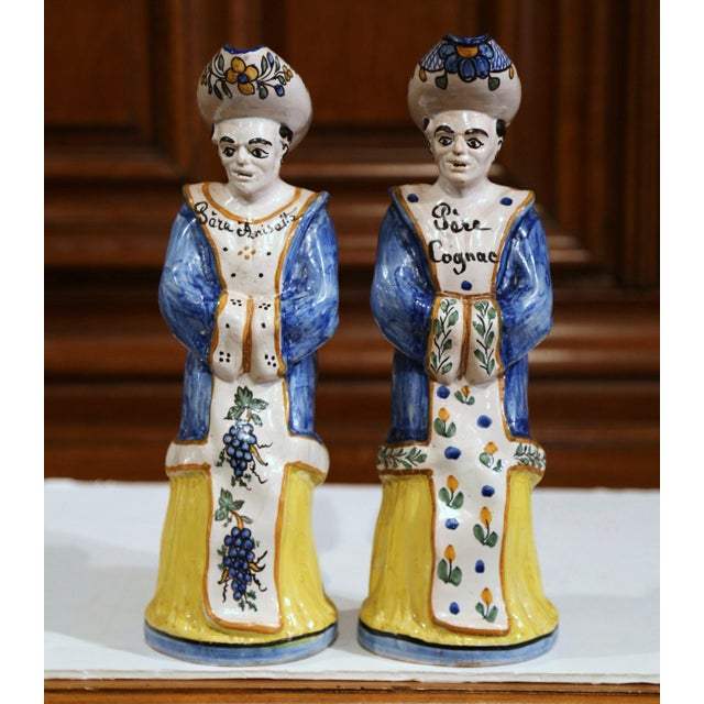 Late 19th Century 19th Century French Hand-Painted Ceramic Bar Figurines or Pitchers - a Pair For Sale - Image 5 of 9