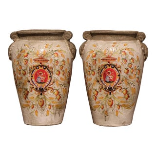 Pair of Italian Hand-Painted Vases With Decorative Wheat and Fruit Decor For Sale