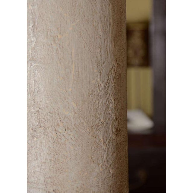 Greige Textured Cylinder Lamps - A Pair - Image 3 of 5