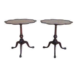 English Mahogany Side Tables - A Pair