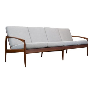 Rare Kai Kristiansen 'Paperknife' Danish Teak 4-Seat Sofa, Restored For Sale
