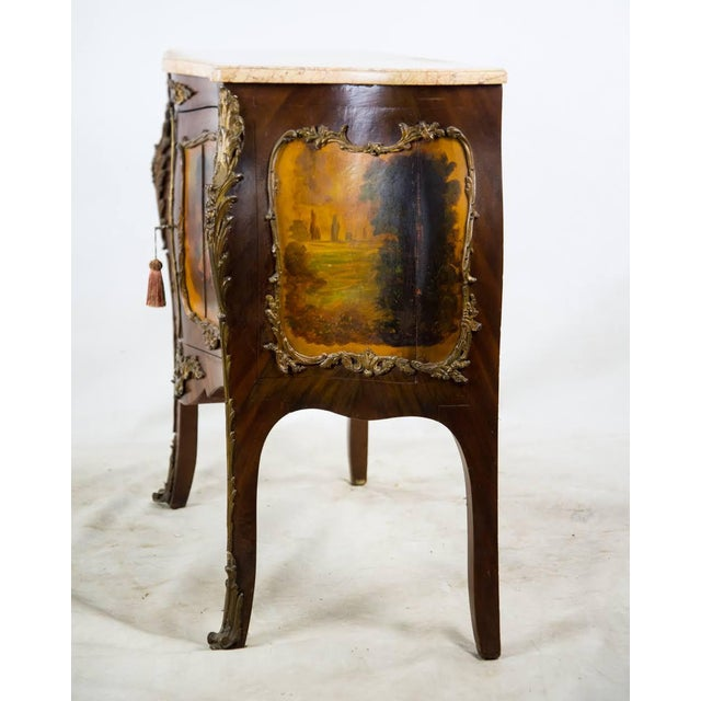 19th Century Antique French Vernis Martin Style Marble Top and Bronze Commode For Sale - Image 4 of 13