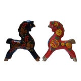 Image of Vintage Scandinavian Wooden Folk Art Horses - a Pair For Sale