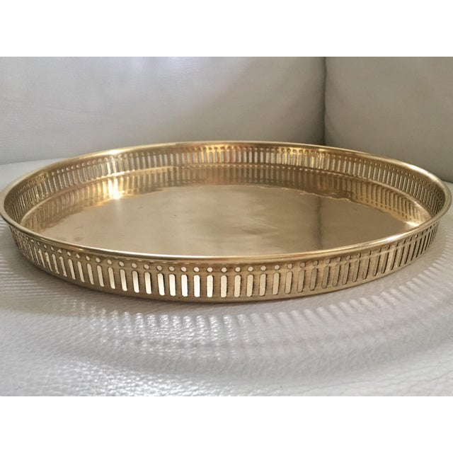 Vintage Pierced Gilt Round Tray For Sale - Image 5 of 6