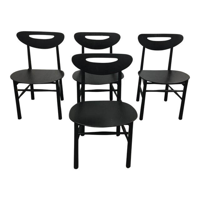 Mid-Century Style Black Dining Chairs - Set of 4 - Image 1 of 7