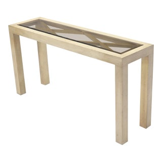 Pickled White Wash Finish Parsons Style Console Table with Glass Top For Sale