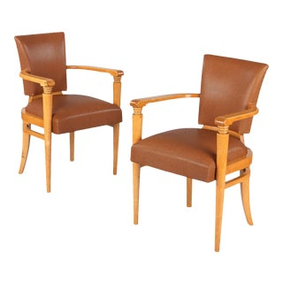 1930s Vintage French Art Deco Birchwood Armchairs- A Pair For Sale