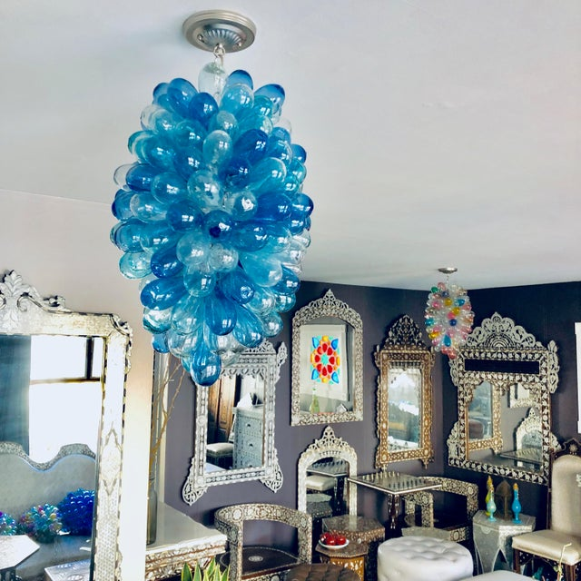 Blue Shades of Blues Handblown Glass Light Fixture For Sale - Image 8 of 11