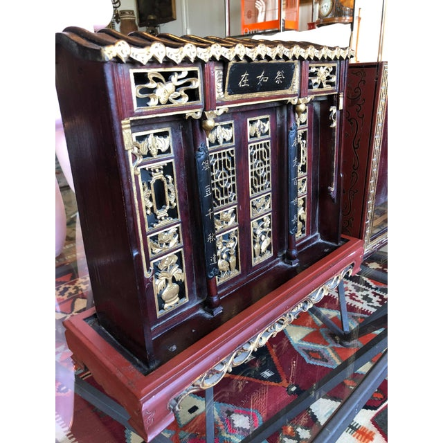 Red Antique Chinese Qing Era Elaborately Carved Home/Family Shrine For Sale - Image 8 of 10