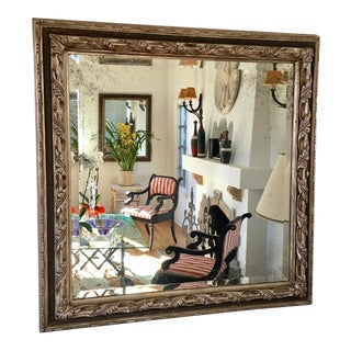 Unusual Ebanista Designer White Gold & Black Square Mirror W Antiqued Beveled Glass For Sale