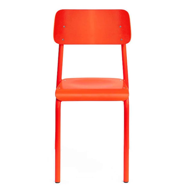 Six modern ML45 neon red chairs by Declercq Mobilier, each one of bent metal and wood bright polychrome/lacquer. Measures:...