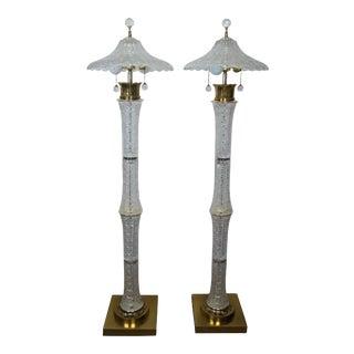 20th Century Victorian Boudoir Regency Abp Cut Glass Floor Lamps - a Pair For Sale