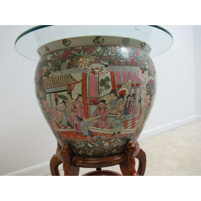 Vintage Asian Pottery Fish Bowl Stand Lamp End Table Pedestal For Sale In Philadelphia - Image 6 of 11