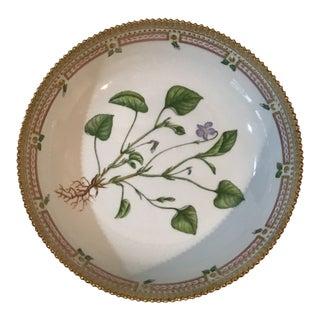 Mint Royal Copenhagen Flora Danica Gilt Edged Viola Canina Horn Bowl For Sale