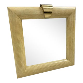 1970s Mid-Century Modern Karl Springer Style Bone Tile Mirror For Sale