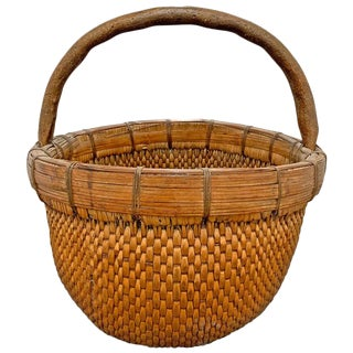 Mid-20th Century Chinese Woven Reed Basket For Sale