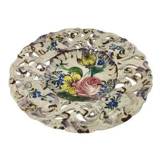 Italian Floral Ceramic Filigree Plate