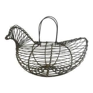Vintage Hand Made Wire Hen / Egg Basket For Sale