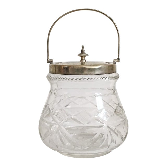 1930s Slack and Barlow English Cut-Glass and Silver Biscuit Jar For Sale