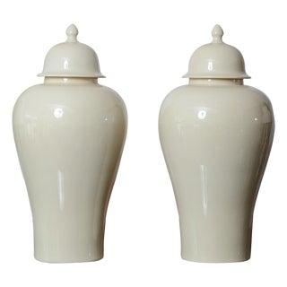 Large Ceramic Ginger Jars - a Pair For Sale