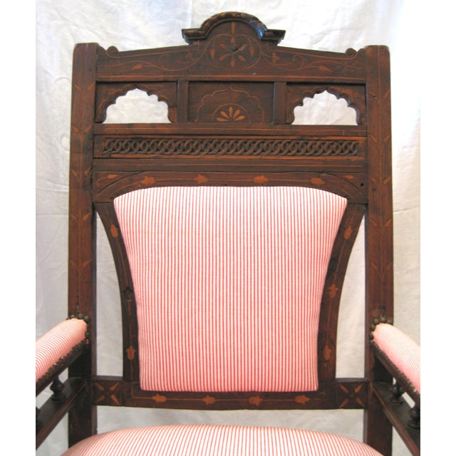 Antique Eastlake Style Wood Inlay Chair - Image 4 of 8