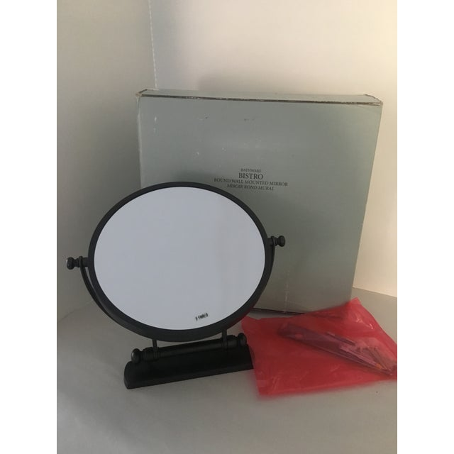 2010s Restoration Hardware Bistro Oil Rubbed Bronze Wall Mount Round Bathroom Mirror For Sale - Image 5 of 8