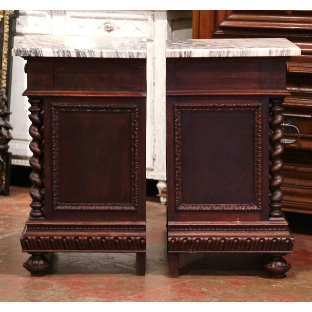 Pair of 19th Century French Carved Oak Nightstands With Marble Top For Sale - Image 11 of 13