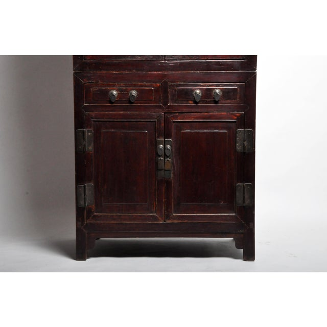 Mid 19th Century Chinese Lattice Kitchen Cabinet With Original Patina For Sale In Chicago - Image 6 of 13