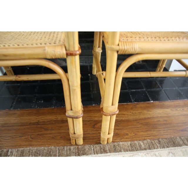Vintage Palm Beach Style Bamboo Rattan Cane Chippendale Armchairs - a Pair For Sale - Image 9 of 13
