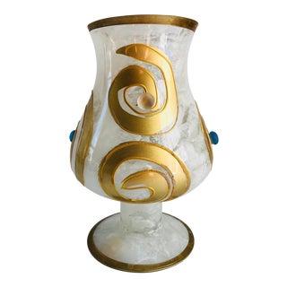 Mid-Century Modern Hand-Blown Gilt Italian Murano Vase For Sale