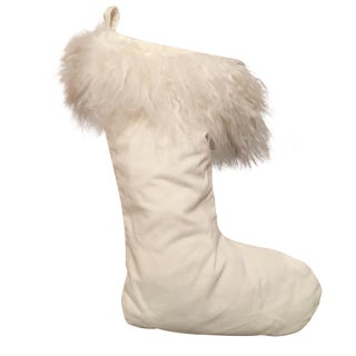 White Stocking With Faux Sheepskin