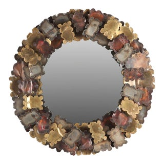 1970s Patinated Steel, Brass and Copper Sunburst Mirror For Sale