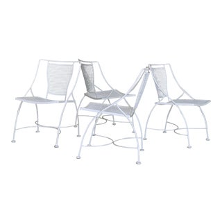 Vintage White Powder Coated Woodard Wrought Iron Patio Chairs- Set of 4 For Sale