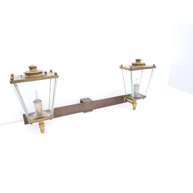 Metal Large French Bronze 2 Lights Sconce Circa 1950's For Sale - Image 7 of 9