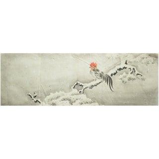 Late 19th Century Meiji Era Large Japanese Rooster in the Snow Watercolor Painting For Sale