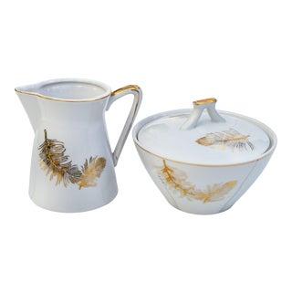 Golden-Leaf Pattern Sugar & Creamer - Set of 2 For Sale