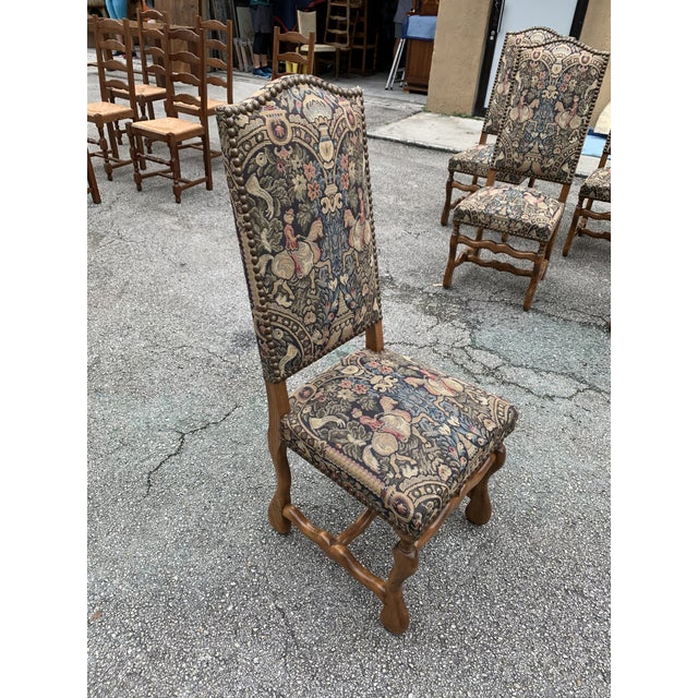 1900s Century French Country Louis XIII Style Os De Mouton Dining Chairs - Set of 6 For Sale - Image 11 of 13